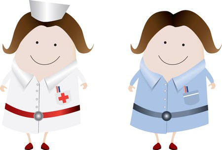 A  classic nurse and uk nurse character illustration, fully editable Stock Illustration - 4233936