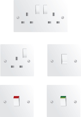 Electric sockets and switches Stock Vector - 4233983