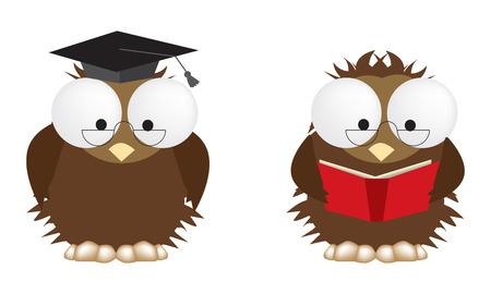 fully editable: 2 illustrations of studious owls, vector fully editable