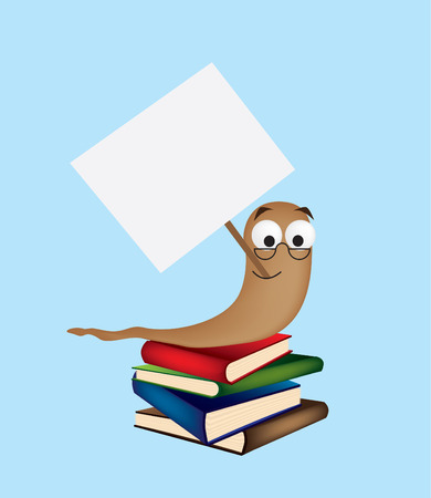 An illustration of a bookworm holding a blank sign Stock Vector - 4234188