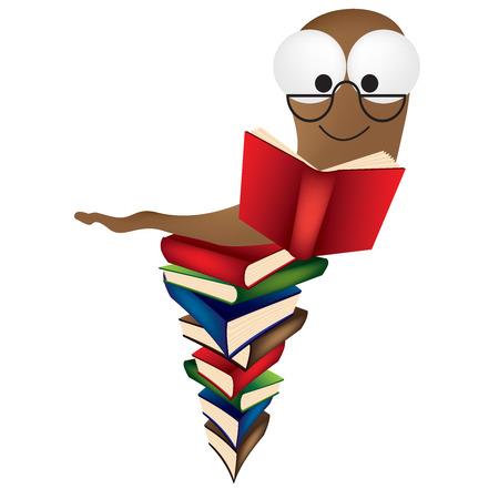 bücherwurm: eine Vektor-Illustration eines Buches Wurm auf einem riesigen Haufen von B�chern