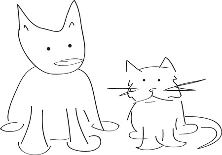 A cat and dog look at each other, modern vector cartoon Vector