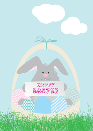 A modern vector llustration of an easter bunny in a basket of eggs Vector