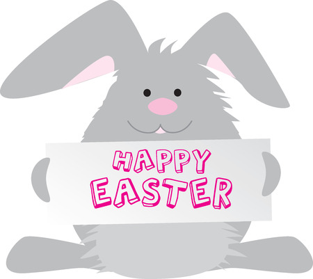 Easter bunny holding happy easter sign Vector