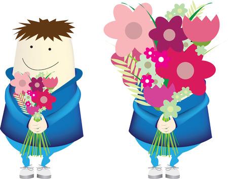 secret love: Un personaje sorprendente ejemplo de una joven chica con un ramo de flores, si, el vector Vectores