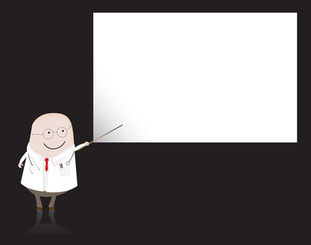 doctor pointing at blank paper Vector