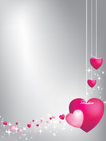Pink hearts on strings background