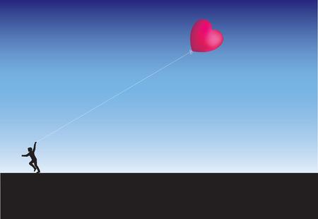 Running across the horizon with a balloon heart kite