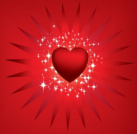 Red heart star burst Stock Vector - 4290774