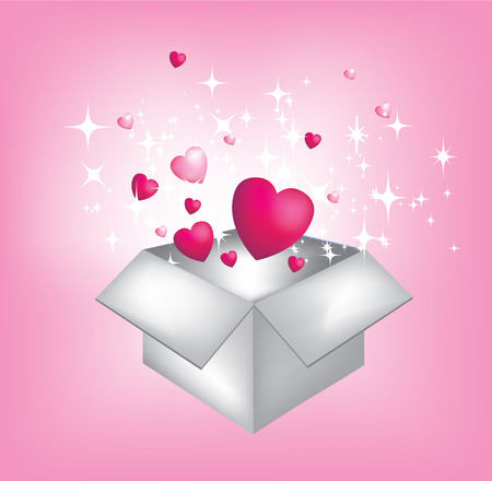 Exploding present gift with hearts and stars Vector