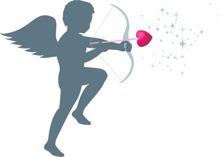 Cupid fires arrow isolated Vector