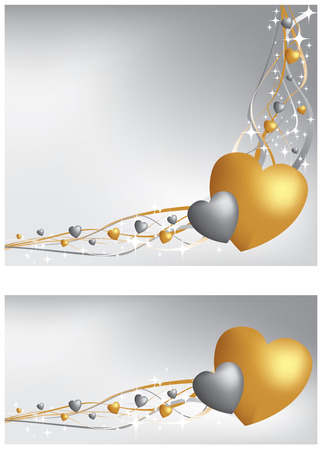Gold and silver heart background and banner Vector
