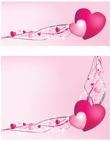 Pink heart border and banner Vector