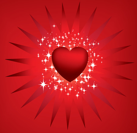 Exploding red heart and stars Vector