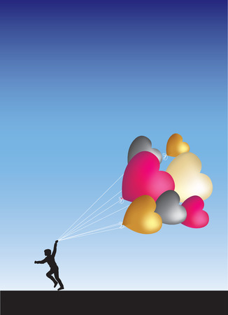 Running with balloons across the horizon Vector