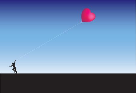 Running with balloons across the horizon Vector