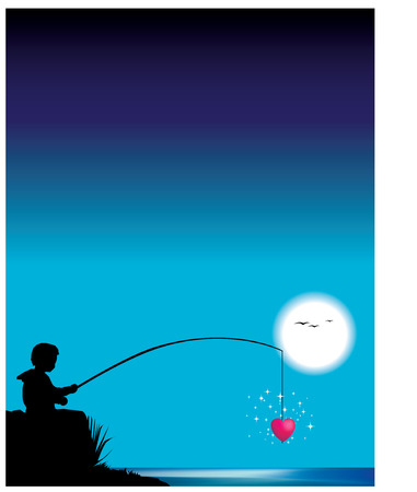 Little child fishing for heart Vector