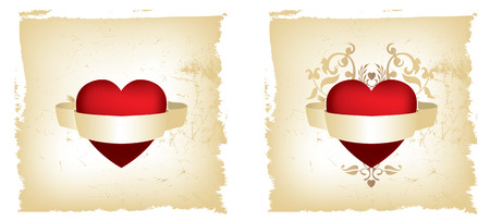 Gold and red grunge heart one simple, one floral Illustration