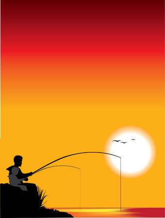 night and day: Father and son fishing Illustration