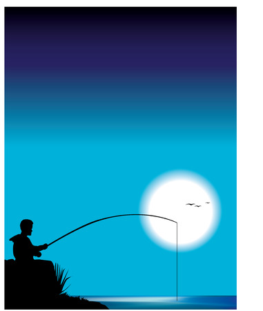 Little boy fishing fo hearts and stars Vector
