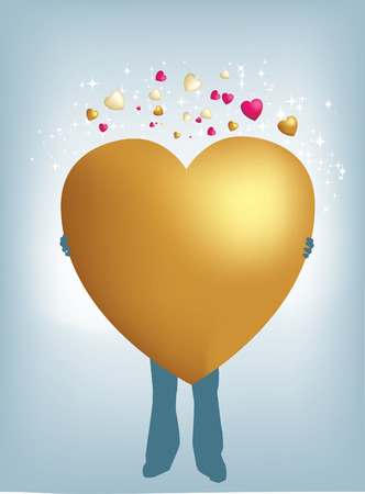 Holding huge gold heart Vector