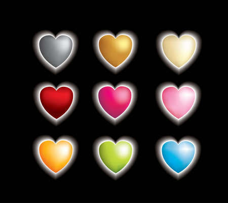 3D vector metallic heart icons on black with a glow Vector