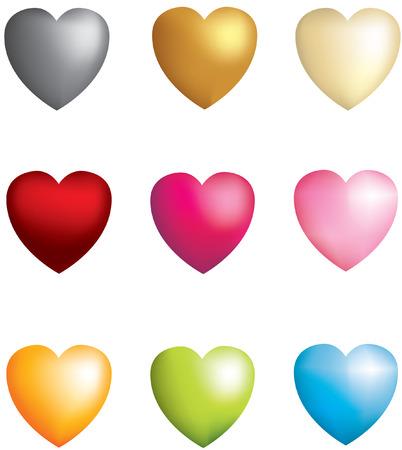 3D vector metallic heart icons matt Vector