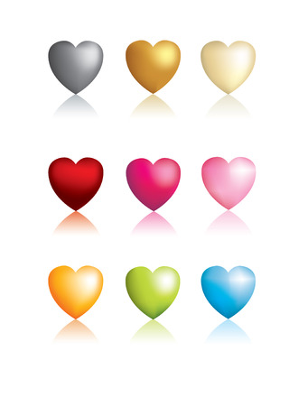 3D vector metallic heart icons glossy Vector