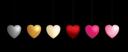 metallic heart balloons on bow ties Vector