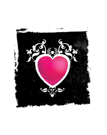 Pink and black grunge heart Vector