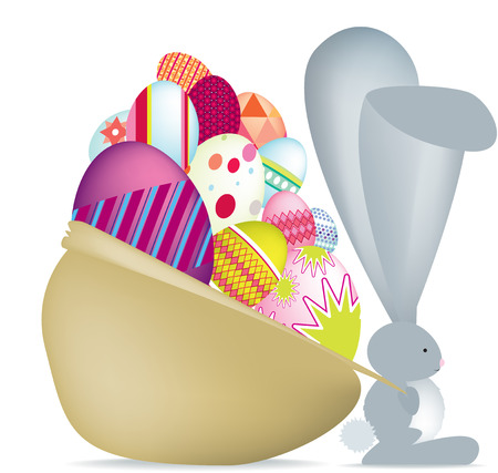 Easter bunny with eggs Detailed vector file, fully editable and scaleable to any size.  Vector