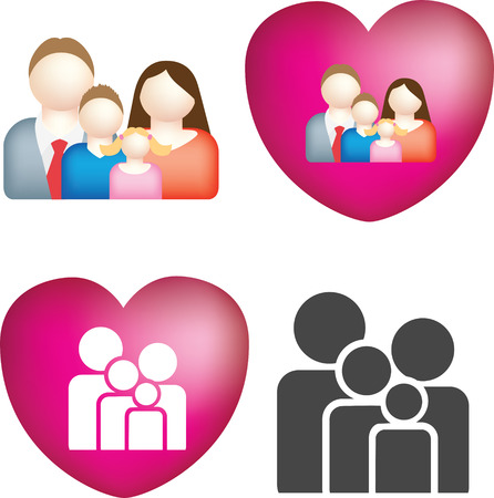 A set of 4 simple and bold vector family icons Vector