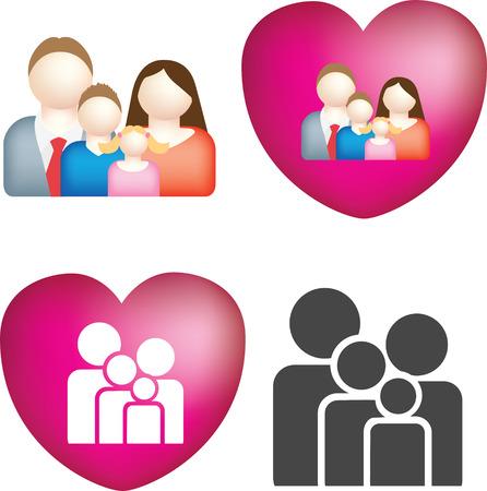 ragazza al telefono: Un set di 4 semplici e grassetto vector icone familiare