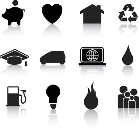 Vector icon set of  black silhouette home icons on white Vector