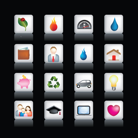 Vector icon set of detailed 3d home icons Vector