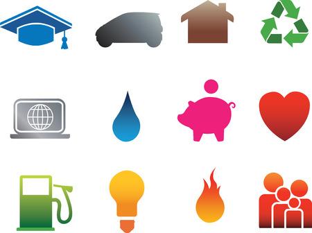 school agenda: Vector icono conjunto de planos detallados silueta casa iconos en blanco Vectores