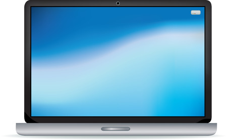 Modern black and silver gradient mesh flat screen laptop Vector