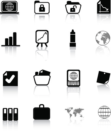 Vector icon set of  black silhouette office icons on white Vector