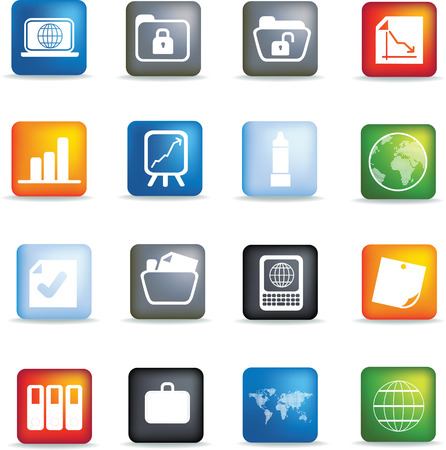 Vector icon set of detailed 3d office icons coloured buttons Vector