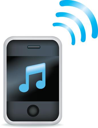 Ilustración vectorial de un teléfono móvil MP3