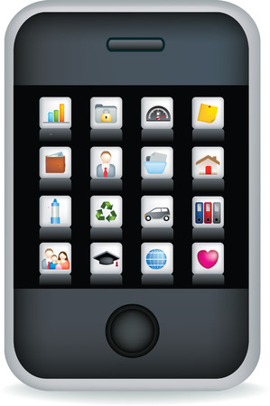 Vector illustration of a touch screen mobile phone with icons Vector
