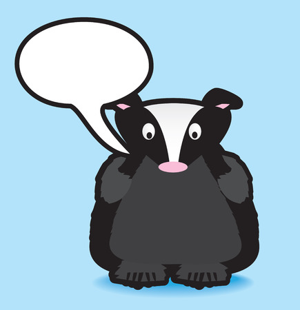 Funky vector illustration of a badger with a chunky black outline Vector