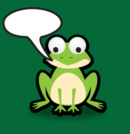 Funky vector illustration of a frog with a chunky black outline Vector
