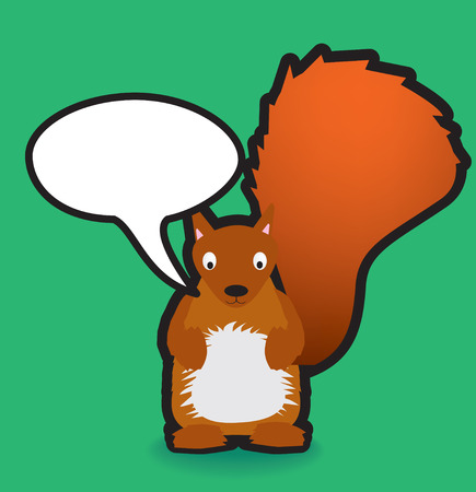 Funky vector illustration of a red squirrel with a chunky black outline Vector