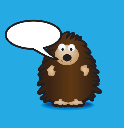 Funky vector illustration of a hedgehog with a chunky black outline Vector