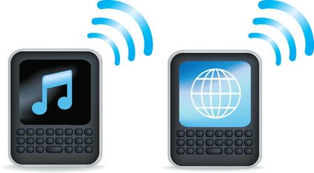 agenda electr�nica: Una ilustraci�n gen�rica de un gen�rico negro tel�fono m�vil o PDA