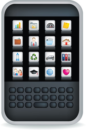 A generic illustration of a black generic mobile phone or pda Vector