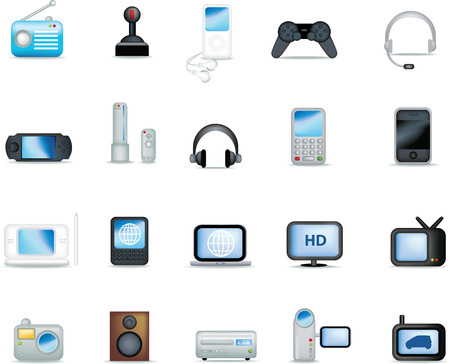 A set of modern icon illustrations of electronic devices Vector