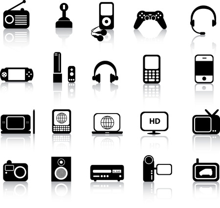 A set of modern icon illustrations of electronic devices Stock Vector - 4594846