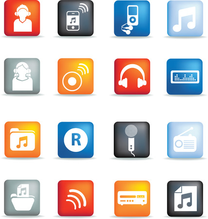 A set of modern icon illustrations for the music and entertainment industry Stock Vector - 4594853